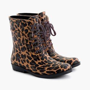 NWT J. Crew leopard print rain boots lace up 7